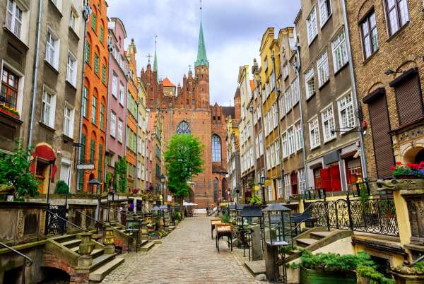 Traditional gothic houses in the old town of Gdansk, Poland