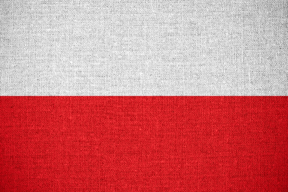 flag of Poland or Polish banner on canvas background